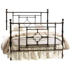 Classic belgian design iron bed Hand applied authentic, aged finish. Available in 3 sizes. Dovetail