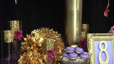 The Majestic themed event is regal and romantic. Stunning polished gold accents, like the inverted Styrofoam cones from FloraCraft, covered with gold leaves, dazzles the eye and provides the contrast to all of the rich violet and purple flowers! find these colors at http://www.dmcolor.com #designmaster @dmcolortools #