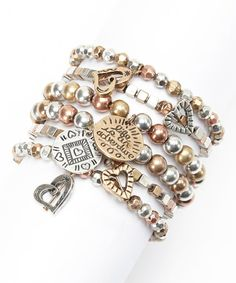 Brown Bead Charm Stretch Bracelet Set
