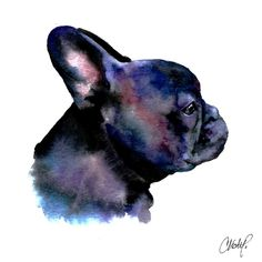 Frenchie Painting - French Bulldog Portrait by Christy Freeman Watercolor