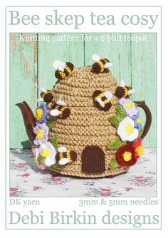 Bee Skep Tea Cosy knitting pattern pdf $3.99 on Etsy at http://www.etsy.com/listing/101338383/beehive-knitting-pattern-bee-hive-skep