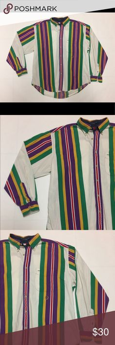 Vtg 90s Tommy Hilfiger Striped Button Front Shirt Awesome colors/design. Men's Large. Vintage 90's Tommy Hilfiger Shirt. Men's L. It's in good condition. There are some small faint spots on it that show in pics. Please zoom in as these small flaws are hard to notice. No holes, no rips. Shirt is over 20 years old. OG Crest Logo on the front. Shipping same day or next day! Tommy Hilfiger Shirts Casual Button Down Shirts