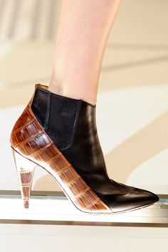 The Remix  Proenza Schouler, Jil Sander and Fendi mixed up fabrications for a put-together patchwork on footwear that isn't afraid of new hides, pony hair and interesting color blocking. fw2012