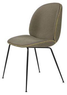 Chaise rembourrée Beetle / Gamfratesi Beige / Pieds noirs - Gubi