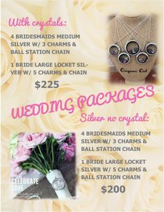 Origami Owl Wedding Package Special Deal! Large Living locket for Bride and 4 Medium lockets for bridesmaids with ($225) or without crystals ($200) all come with chains and charms!! Perfect customizable bridesmaid gift! Please email me to get the special pricing! http://www.beckytibbits.origamiowl.com to pick your charms and email me! Happy Shopping!