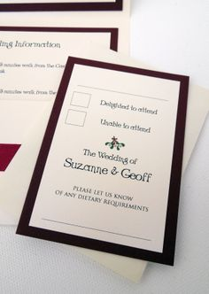 Mr & Mrs Christmas - RSVP card from Pocketfold wedding invitation with mistletoe illustration