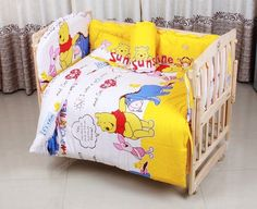 79.80$  Watch here - http://ali3m9.worldwells.pw/go.php?t=32331278078 - Promotion! 10PCS Bear cotton crib bedding set of unpick and wash baby bed set bed sheets (bumper+matress+pillow+duvet) 79.80$