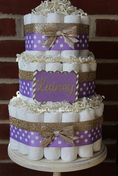 3 Tier Purple And Gold Diaper Cake, Elegant, Baby Girl Baby Shower,  Centerpiece, Decor, Girls Baby Shower, Lavender, Polka Dot