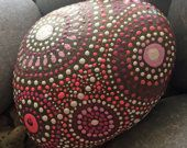 pink persuasion collection #6, river rock art, painted stone, home decor, garden decoration, pink, white, nature, Mandala Art, accent piece