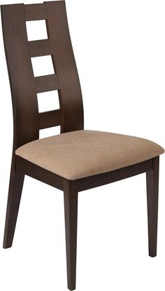 Preston Walnut Wood Dining Chair with Window Pane Back and Brown Fabric Seat Dining Room Furniture Design, Wooden Dining Table Designs, Chair Design Wooden, Wooden Dining Chairs, Contemporary Dining Chairs, Contemporary Design, Rattan Chairs, Latest Dining Table, Wooden Chair Plans