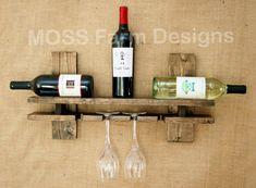 Distressed to Impress Wine Rack Rustic Modern  by MossFarmDesigns