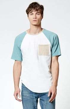 Style meets total comfort in this must-have On The Byas tee. The Fell Baseball Scallop T-Shirt features a raglan-style design, a soft lightweight fabrication, and an on-trend scallop hem for added style and coverage. Lifestyle Clothing, Scalloped Hem, Pacsun, Tank Man, Mens Fashion, Pocket, Baseball, Tees, Swimwear