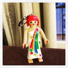 Porte-clés recyclé jouet femme star : Porte clés par perles-et-ribines