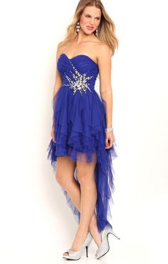 Deb Shops Strapless High Low Homecoming Dress with Stone Spray Waist $95.00