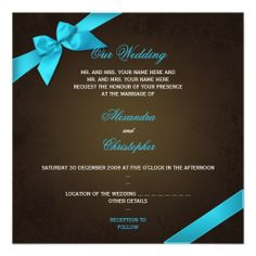 Turquiose Ribbon on Brown Grunge Wedding Custom Invitations Dealslowest price Fast Shipping and save your money Now!!...