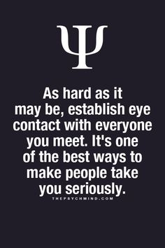 Eye Contact: Psychology Facts: thepsychmind.compost/91248494710 #psychology #facts #anxiety thepsychmind.com