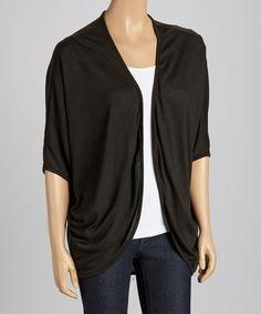Take a look at this Black Short-Sleeve Open Cardigan by Clothing Showroom on #zulily today!