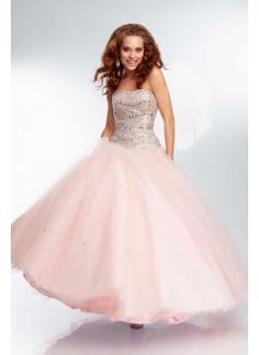 Ball Gown Strapless Prom Dresses Floor Length With Sequined Bodice Corset Tulle