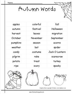 fall pictionary words list for kids - Google Search