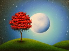 This is an original oil painting on gallery wrapped canvas. This moon wall decor pictures a textured red tree atop rolling green hills. The full moon in