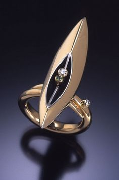 Ring | Danielle Miller-Gilliam  'Porta' 18k gold, oxidized sterling silver, tsavorite garnet, diamonds.