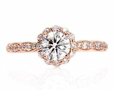 Diamond Engagement Ring Halo Conflict Free Diamond Ring 14K White Yellow or Rose Gold