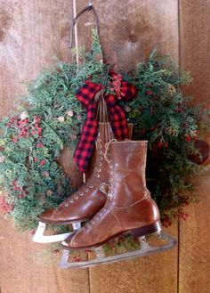 Prim Evergreen Wreath...with old leather ice skates.