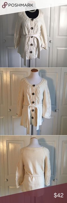 LOFT Cable Knit Cardigan LOFT cream/off white colored chunky cable knit button down Cardigan with tie waist. Perfect condition, NWOT. LOFT Sweaters Cardigans