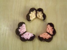 New Set of Six Crochet Butterflies with Brown Border by Roxana010, $3.50
