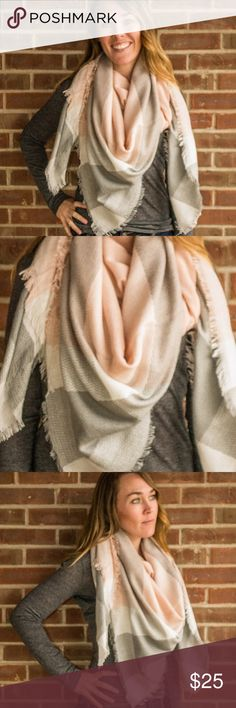 Pale Peach Pink Gray Oversized Soft Blanket Scarf Pale Peach Pink White Gray Oversized Super Soft Blanket Scarf  Wrap yourself up with this cozy, unbelievably soft blanket scarf. Super flattering neutral colors! Highest quality acrylic fabric Made in USA. Accessories Scarves & Wraps