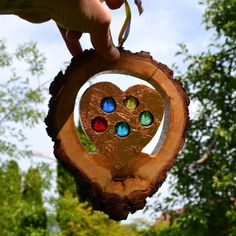 Gartendekoration - Glasstein Holz Sonnenfänger Herz 17 cm - ein Designerstück von Tannwicht bei DaWanda