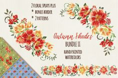Watercolors: Autumn shades bundle II by Lolly's Lane Shoppe on Creative Market