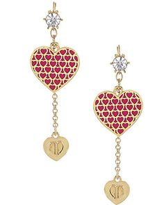 HEART MEDALLION EARRING FUCHSIA MULTI
