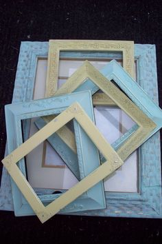 Mint and Yellow open frame set, mint green pale yellow Shabby Cottage ornate picture frames, set of 6 frame gallery, wedding decor by UpcycledCottageDecor on Etsy