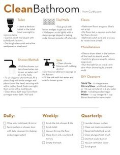 Bathroom Cleaning Cheat Sheet