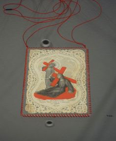 Teresa Milheiro Necklace: Christmas 2011, 2011 Saint in paper lace from XIX century, with painting intervention , plastic, red thread, sil...