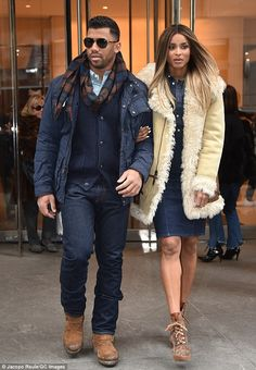 Ciara wearing Ralph Lauren Vicky Suede Boots in Taupe, Polo Ralph Lauren Denim Shirt and Polo Ralph Lauren Denim Pencil Skirt Ny Fashion Week, Fashion Night, Star Fashion, Fashion Show, Fashion Ideas, Men's Fashion, Celebrity Couples, Celebrity Style, Ciara And Russell Wilson