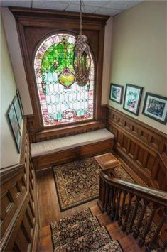 Home Interior Victorian Stained Glass Ideas Victorian House Interiors, Victorian Home Decor, Old Victorian Homes, Victorian Windows, Victorian Parlor, Victorian Architecture, Interior Architecture, Interior And Exterior, Interior Design
