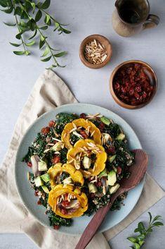 Warm quinoa, kale & squash salad