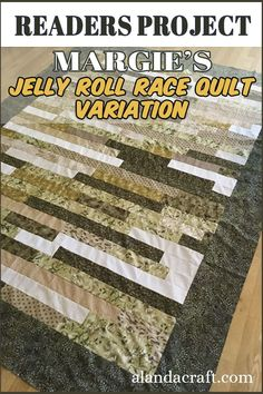 Our Readers Project is this Jelly Roll Race Quilt variation by Margie from our free jelly roll race variation quilt tutorial. She actually made 3 quilts from her stash. Such a great way to use up that fabric stash. Diy And Crafts Sewing, Diy Sewing Projects, Sewing Projects For Beginners, Quilting Projects, Quilting Designs, Diy Crafts, Jelly Roll Race, Queen Size Quilt, Quilting Room