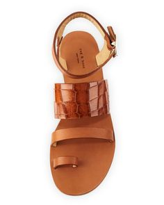 Rag & Bone Chartan Croc-Embossed Leather Strappy Sandal, Tan. I almost bought these in black. I should have.