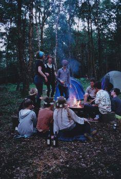 camping and bonfire