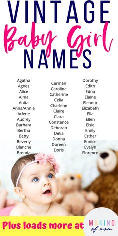 100 Old-Fashioned Baby Girl Names (Popular & Uncommon Grandma Chic!) - Boy Girl Names - Looking for old fashioned baby girl names for your little one? Here are over 100 vintage 'grandma' style baby names to try! via Making of Mom Vintage Baby Mädchen, Vintage Baby Girl Names, Trendy Baby Girl Names, Vintage Names, Cute Baby Names, Vintage Boys, Unique Vintage, Retro Baby, Best Baby Names