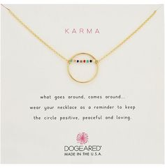 Dogeared Karma Smooth Open Circle w/ Multicolored Seed Bead Bar Necklace Necklace