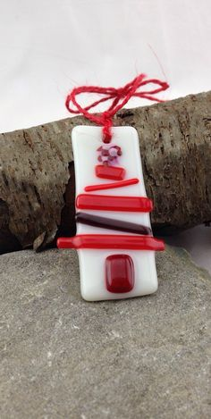 Red Fused Glass Christmas Tree Ornament by PureandSimpleCharm