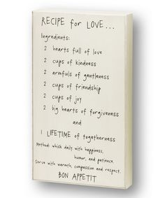 'Recipe for Love' Wall Sign by Collins #zulily #zulilyfinds