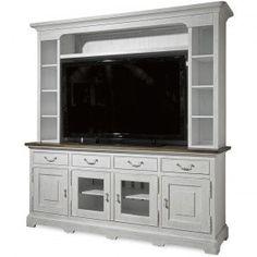 Shown in Low Tide finish. <br /> The Paula Deen Dogwood Entertainment Console measures 80 in. W x 22 in. D x 34 in. H<ul><li>Four drawers</li><li>Four doors</li><li>Adjustable shelves</li><li>Interchangeable wood, glass, and speaker cloth door panel inserts</li><li>Charging station</li></ul><br /><br /><strong>Paula Deen Dogwood Collection Features:<&...