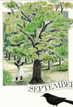 September by Lena Anderson Seasons Months, Months In A Year, 12 Months, Season Calendar, Edith Holden, Vintage Illustration, Hello September, Claude Monet, Sweden