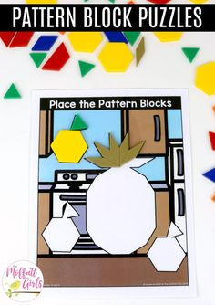 Place the Pattern Blocks without Lines or Numbers of Shapes: These fun Grade Math activities help students understand basic geometry with the use of shapes and fractions in a hands-on way! 1st Grade Math, First Grade, Grade 1, Puzzle Place, Core Learning, Basic Geometry, Kindergarten Classroom, Fractions, Pattern Blocks
