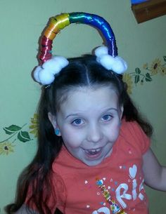 Hair: Hairstyles for girls Crazy hair day! Crazy Hair For Kids, Crazy Hair Day At School, Crazy Hat Day, Crazy Hats, School Days, School Stuff, Dance Hairstyles, Pretty Hairstyles, Wacky Hairstyles